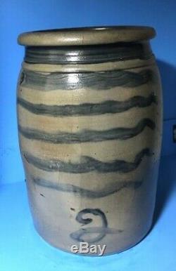 Antique Stoneware Jar 6 Cobalt Stripes Freehand 2 Capacity 11+ crack shown