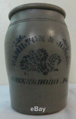 Antique Stoneware Jar Cobalt Blue Stencil Floral Hamilton-Jones Greensboro, Pa