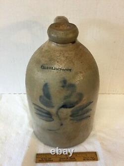 Antique Stoneware Jug Charlestown Mass with Cobalt Flower 1840's Era Excellent