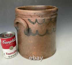 Antique Stoneware Lard Pot or Crock with Cobalt Fish Scale Swags, American, 19thC