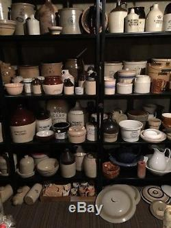 Antique Stoneware Lot Advertising crocks jugs churns bowls lids high collection