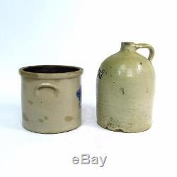 Antique Stoneware MULLEN & CONNOLLY Crock Decorated B&T Jug Lot New Brunswick NJ