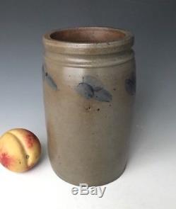 Antique Stoneware Mid-Atlantic 8.75 Fruit Canning Jar Crock with Cobalt, ca. 1870