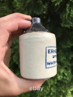 Antique Stoneware Mini Whiskey Jug Crock Ernest Bros Washington DC Advertising