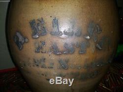 Antique Stoneware P. Eiler 3 Gallon Birmingham PA. Jug Crock Scarce Rare 1870s
