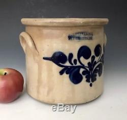 Antique Stoneware Rare 1850s Fenton & Hancock VT Crock with A+ Cobalt Floral, NR