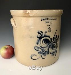 Antique Stoneware Rare NH Crock with Cobalt Floral, Frank Lampson, Exeter, c. 1880