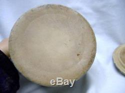 Antique Stoneware SPONGEWARE Butter Crock with LID Rainbow Sponge ware