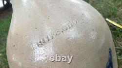 Antique Stoneware Salt Glaze Crock Gallon Jug Blue Decoration Whites Utica NICE