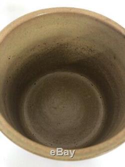 Antique Stoneware Salt Glaze Mustard Crock with Cobalt Blue American Eagle Stars