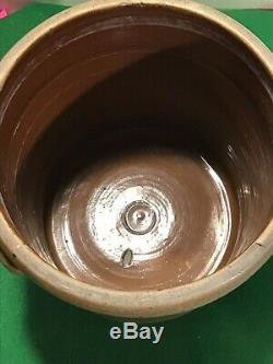 Antique Stoneware Salt Glazed 3 Gallon Crock Cobalt Flower 1880s Pig Ears