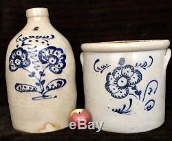 Antique Stoneware Somerset Potters Works 4G Jug & 5G Crock with Cobalt, MA, c1860
