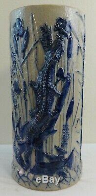 Antique Stoneware Umbrella Stand Cobalt Molded Relief Alligator & Foliage