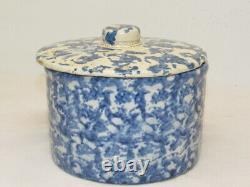 Antique Unmarked Blue White Spongeware Butter Keeper Crock