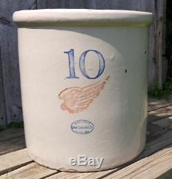 Antique Vintage 10 Gallon Red Wing Union Stoneware Crock, 6 Wing, Block Numbers