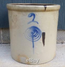 Antique Vintage 2 Gallon Red Wing Salt Glaze Stoneware Cobalt Target Crock