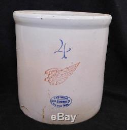 Antique Vintage 4 Gallon Red Wing Union Stoneware Crock