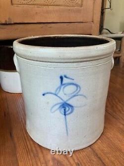 Antique Vintage 5 Gallon Salt Glaze Target / Lazy 8 / Bee Sting Stoneware Crock
