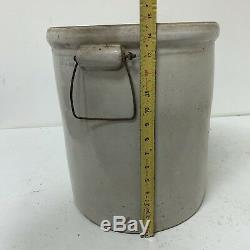 Antique Vintage 6 Gallon Red Wing Union Stoneware Crock with Bail Handles