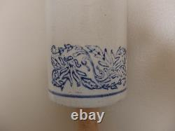 Antique Vintage Blue & White Stoneware Crock Rolling Pin 1900s
