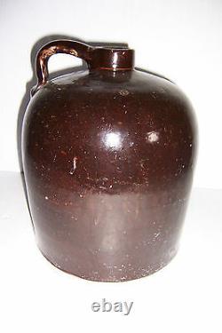 Antique Vintage Brown 2 Gallon Stoneware Crock Jug