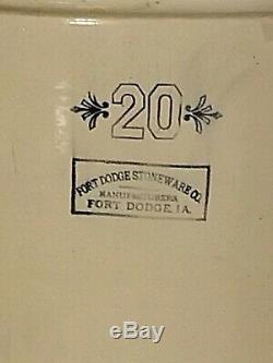 Antique/Vintage Fort Dodge Ia Iowa 20 Gallon Stoneware Crock See Listing