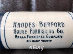 Antique/Vintage Red House Furnishing Advertising Stoneware Crock Rolling Pin