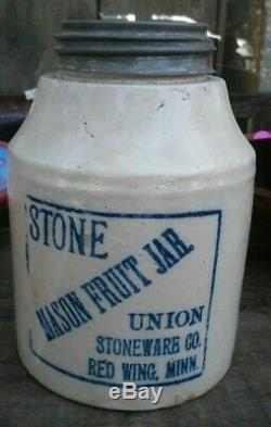 Antique Vtg 1899 Stone Mason Fruit Jar Redwing Minn Union Stoneware Quart Size