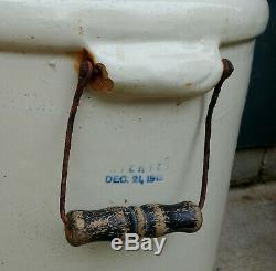 Antique Vtg Primitive 6 Gallon Red Wing Stoneware Crock Bail Handles, No Cracks