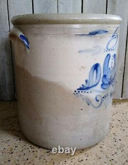 Antique Vtg Primitive Hermann Wisconsin 5 Gallon Stoneware Crock Cobalt Flower