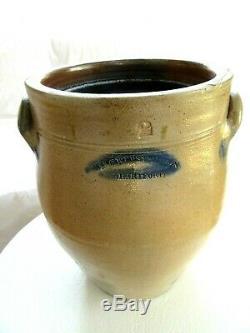 Antique WEBSTER HARTFORD CT 2 Gal Stoneware Salt Glaze Ovoid Crock BLUE 1830'S