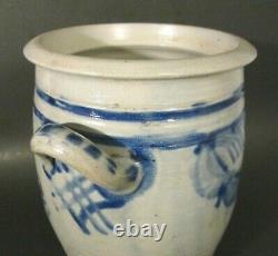 Antique WESTERWALD German Salt Glazed Stoneware Cobalt Blue SWAGS 9.5 Crock Jar