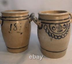 Antique WESTERWALD Salt-Glazed Blue & Grey Stoneware 2-Handled Crock Pot 1870