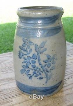 Antique Western PA Stoneware Wax Sealer with Floral Decoration