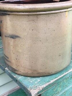Antique Western Pa 2 Gal Decorated Cobalt Blue Stoneware Cake Or Butter Crock