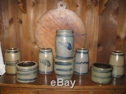 Antique Western Pa Stoneware Crock / Blue Decorated