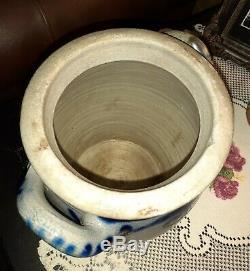 Antique Westerwald Salt Glazed Cobalt Stoneware 7 3/4 German Handled Crock Jug
