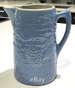 Antique White Hall Stoneware Illinois Pottery Blue Grape & Trellis 8 1/4 Pitcher