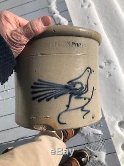 Antique Whites Utica NY 1 Galllon Blue Decorated Stoneware Crock Bird c1880