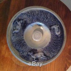 Antique Whites Utica Pottery Salt Glaze Stoneware Butter Crock Tub with Hunt Scene
