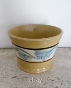 Antique Yellowware Mocha Crock Seaweed Mochaware Yellow Ware