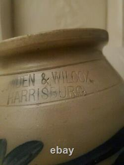 Antique crock stoneware with blue