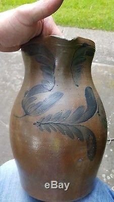 Antique decorated stoneware crock pitcher Somerset cty pa G&A BLACK somerfield