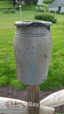 Antique pa blue decorated stoneware crock jar Hamilton Jones manufacturer 1 gal