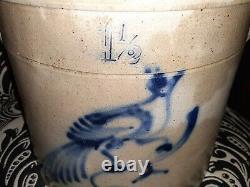 Antique salt glazed Stoneware Crock Bluebird on branch Decorated Fort Edward NY