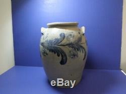 Antique stoneware crock 2 gallon painted all the way around some chips