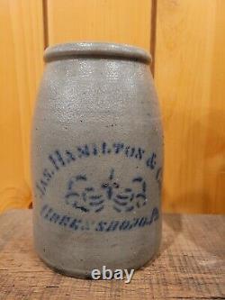 Antique stoneware crock cobalt blue 1/2 gal wax sealer
