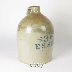 Antique stoneware jug ES&B 3 g crock blue cobalt stenciled decorated