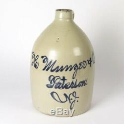 Antique stoneware jug H Munger Co Paterson NJ blue cobalt decorated 2 g crock
