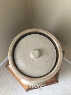 Antiques Mid-1800 Saltglaze Stoneware Floral John Burger 3 Gal. Crock With LID